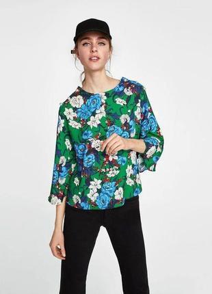 Блуза топ оверсайз мультиколор принт декор жемчужины свободного кроя zara