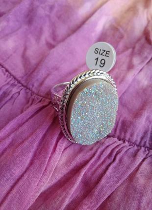 Распродажа украшений! шикарное красивое кольцо с необработанным камнем кварц размер 19