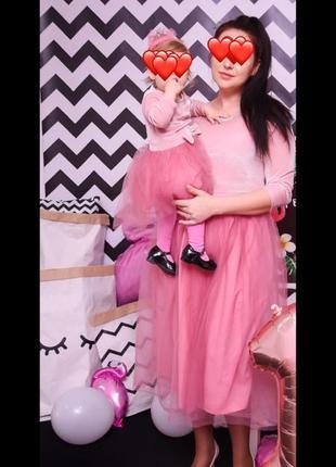 Крутой комплект платьев мама+дочь фемели лук family look платье на годик