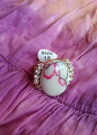 Распродажа украшений! шикарное красивое кольцо с камнем бирюза со стразами размер 18