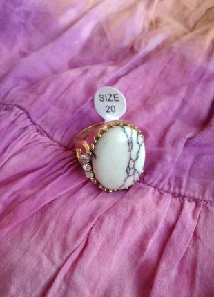 Распродажа украшений! шикарное красивое кольцо с камнем бирюза со стразами размер 20