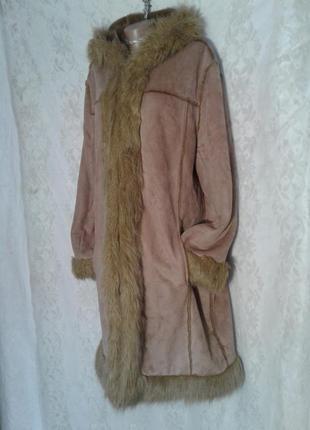 Пальто из искусственного меха песочного цвета,м -l.3