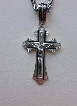 Серебряный мужской крест с эмалью