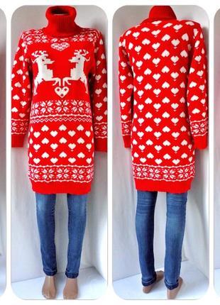 Очаровательный свитер-платье с оленями. размер s/m.