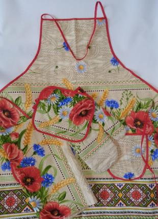 Кухонный набор маки льняной 4 предмета (фартук, полотенце, прихватка и рукавица.)