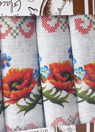 Набор из 5ти кухонных льняных полотенец маки
