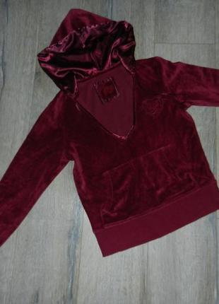10/38/s m&s велюровая толстовка,кофта цвета марсала,винного цвета с капюшоном