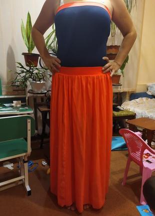 Трикотажне літнє плаття з шифоном