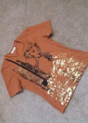 Рыжая футболка с накатом-на 44\46р