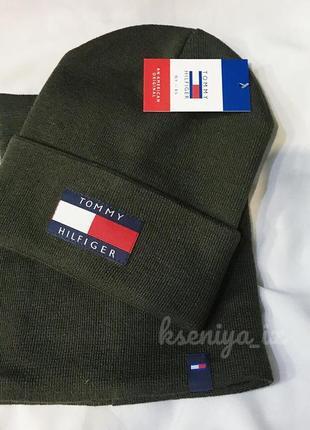 Новый шерстяной вязаный зелёный комплект набор {шапка и хомут}
