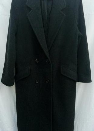 Классическое шерстяное длинное двубортное пальто тёплое прямого кроя compliments outerwear