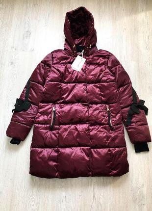 Пуховик куртка пальто женский стильный одеяло бордовый размер l xl