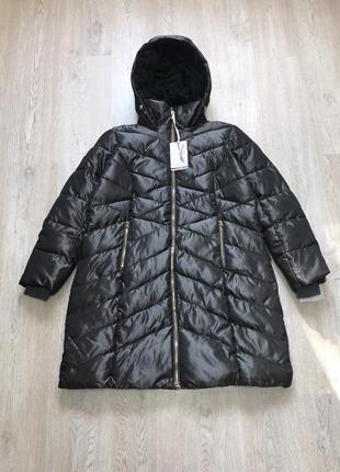 Пуховик пальто куртка новый размер xl фирменный стильный серый серебристый