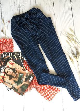 Стильные штаны в полоску с поясом marks&spencer