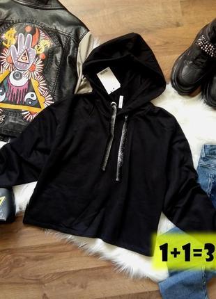 Colloseum базовый короткий свитшот s-m черный кроп топ свитер свободный пуловер капюшон