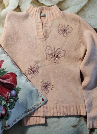 Женский супер теплый плотный шерстяной свитер кофта джемпер ангоровый гольф