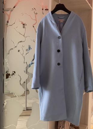 Шерстяное пальто-кокон hm premium
