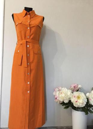 Потрясающее платье рубашка макси из шёлка и льна