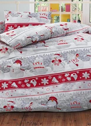 Снеговички - праздничное постельное белье из турецкого 100 хлопка премиум