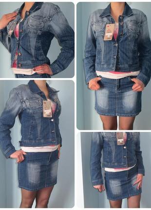 Супер джинсовый костюм-тройка женский, джинсова спідниця, джинсова куртка