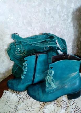 Итальянские ботинки морского цвета