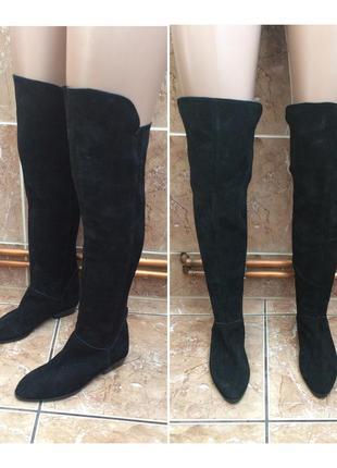 Кожаные сапоги выше колен шкіряні замшеві високі чоботи вище колін з сша