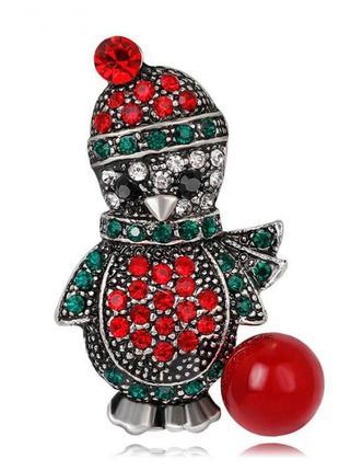 Новогодняя брошь заколка булавка на одежду снеговик пингвин