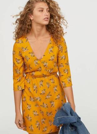 H&m платье в цветочные принт, xs-s