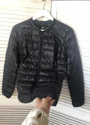 Куртка,легкий пуховик с карманами,пух-перо h&m (см.замеры)
