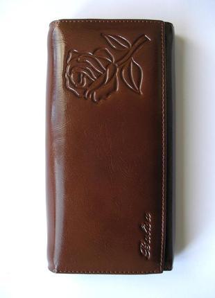 Большой кожаный кошелек кофейная роза, 100% натуральная кожа, есть доставка бесплатн