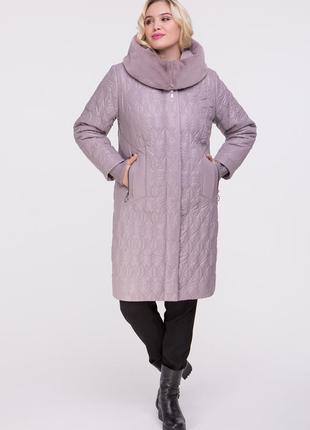 Куртка-пальто 50-60 размер цвет пудра