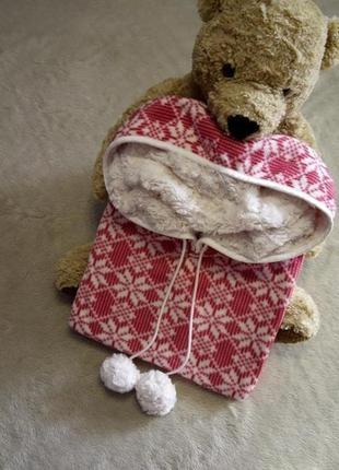 Пончо халат для дома и сна  с капюшоном размер 10-18 marks & spencer