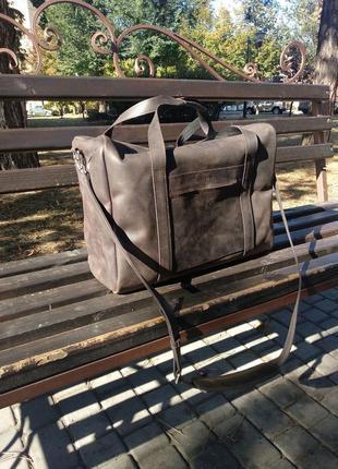 Большая дорожная сумка из винтажной кожи (crazy horse), спортивная кожаная сумка