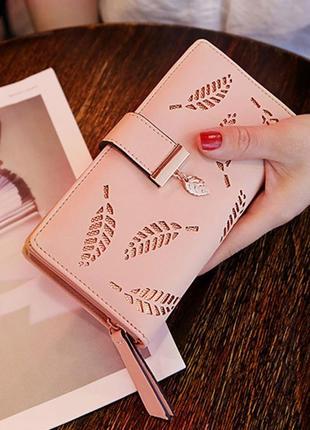 Женский кошелек клатч из pu кожи на замке золотые листья, 5 цветов
