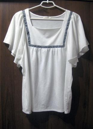 Блузка футболка promod белая вышивка орнамент рукав короткий клёш вышиванка