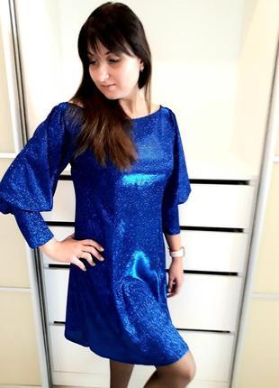 Синее блестящее платье. вечернее платье. платье для праздника. 1+1=3