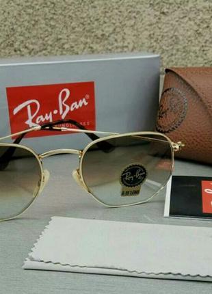 Ray ban очки унисекс солнцезащитные линзы стекло коричневые в золотой металлический оправе