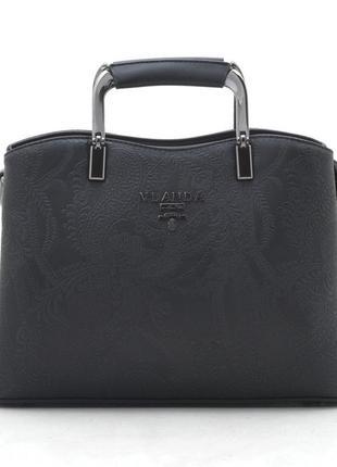 Женская сумка bht-947 black черная классическая сумочка узор