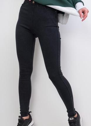 Лосины под джинсы с высокой талией / стильные джеггинсы / черный