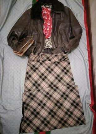 Озорная юбка макси в дмагональную клетку с разрезом