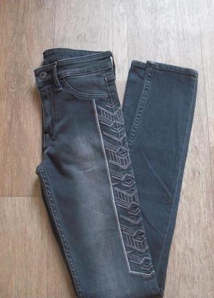 Джинсы h&m, серые джинсы, узкие джинсы