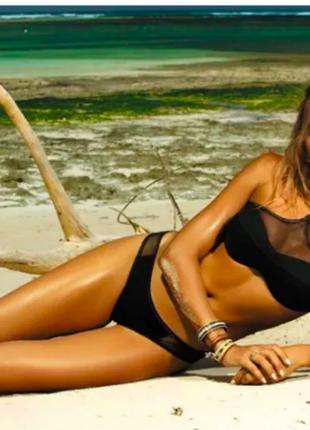 Цветастый и черный купальник с пуш-ап секси с отделкой сеткой на лифе новинка 2019