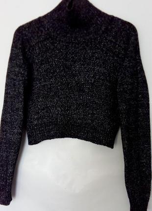 Шикарный укороченный кроп свитер крупная вязка, высокий ворот труба, меланж, zara