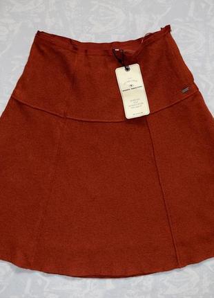 Теплая юбка миди терракотового цвета теплая шерстяная юбка осень-зима шестиклинка