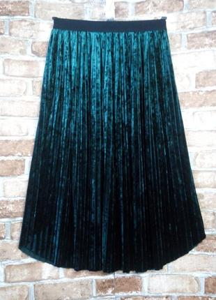 Плиссированая бархатная юбка миди