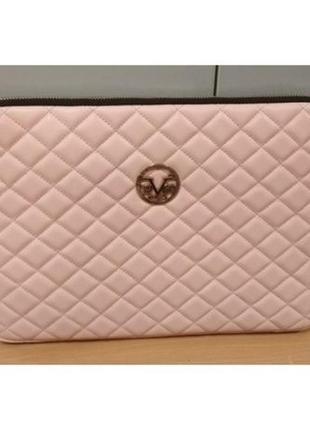 Чехол-сумка футляр для ноутбука, нетбука, планшета, versace 1969, кожа, розовый