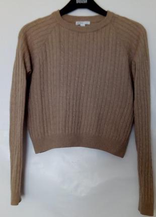Бежевый укороченный джемпер, свитер в костичку, subdued