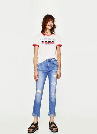 Крутые джинсы с бахромой zara