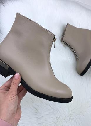 Натуральная кожа элегантные осенние кожаные ботинки с декоративной молнией спереди