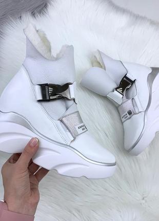 Натуральная кожа грубые зимние кожаные ботинки на массивной подошве качество люкс!